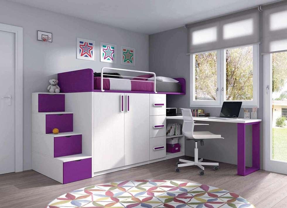 Cama tren con escritorio y escalera dormitorios for Escritorios para dormitorios