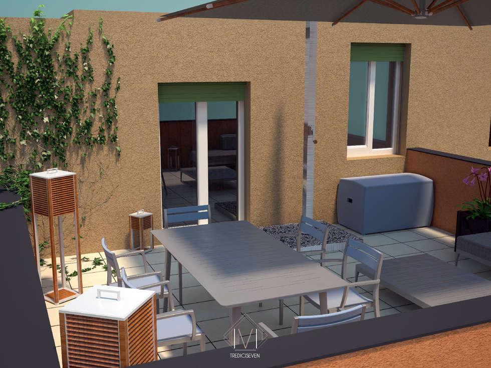 Render foto realistico terrazzo: Terrazza in stile  di 13seven