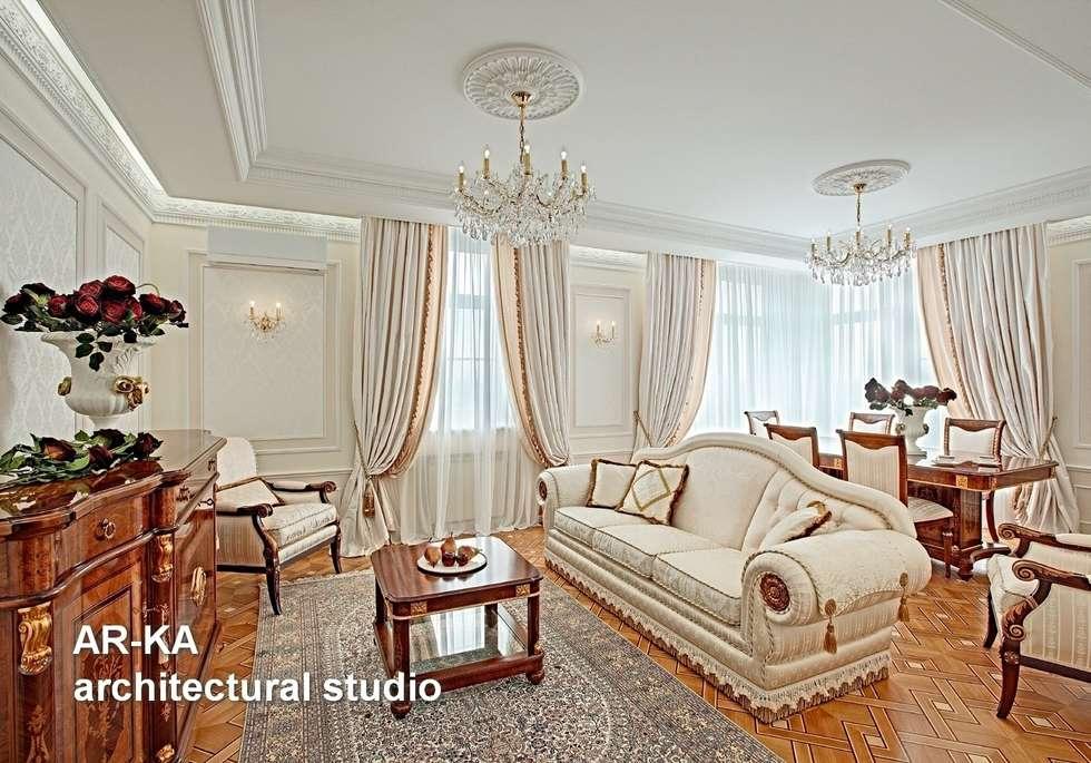 Принцип семейного совета: Гостиная в . Автор – AR-KA architectural studio