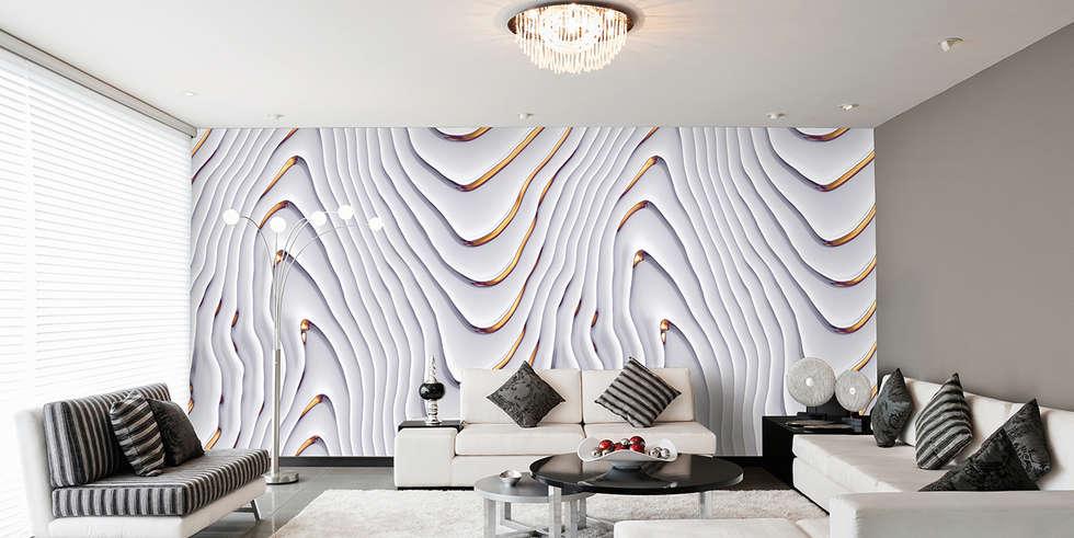 Kaskadenwelle Weiß Gold: Ausgefallene Wohnzimmer Von Mowade