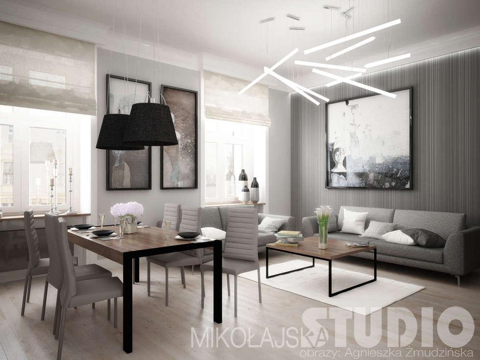 Luksusowe mieszkanie: styl , w kategorii Salon zaprojektowany przez MIKOŁAJSKAstudio