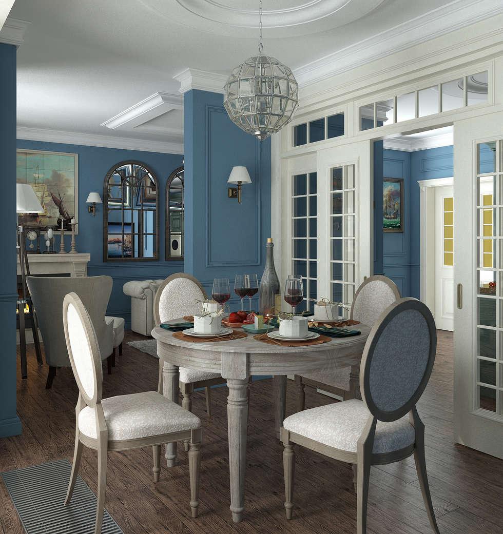 Столовая в английском стиле: Столовые комнаты в . Автор – Yurov Interiors