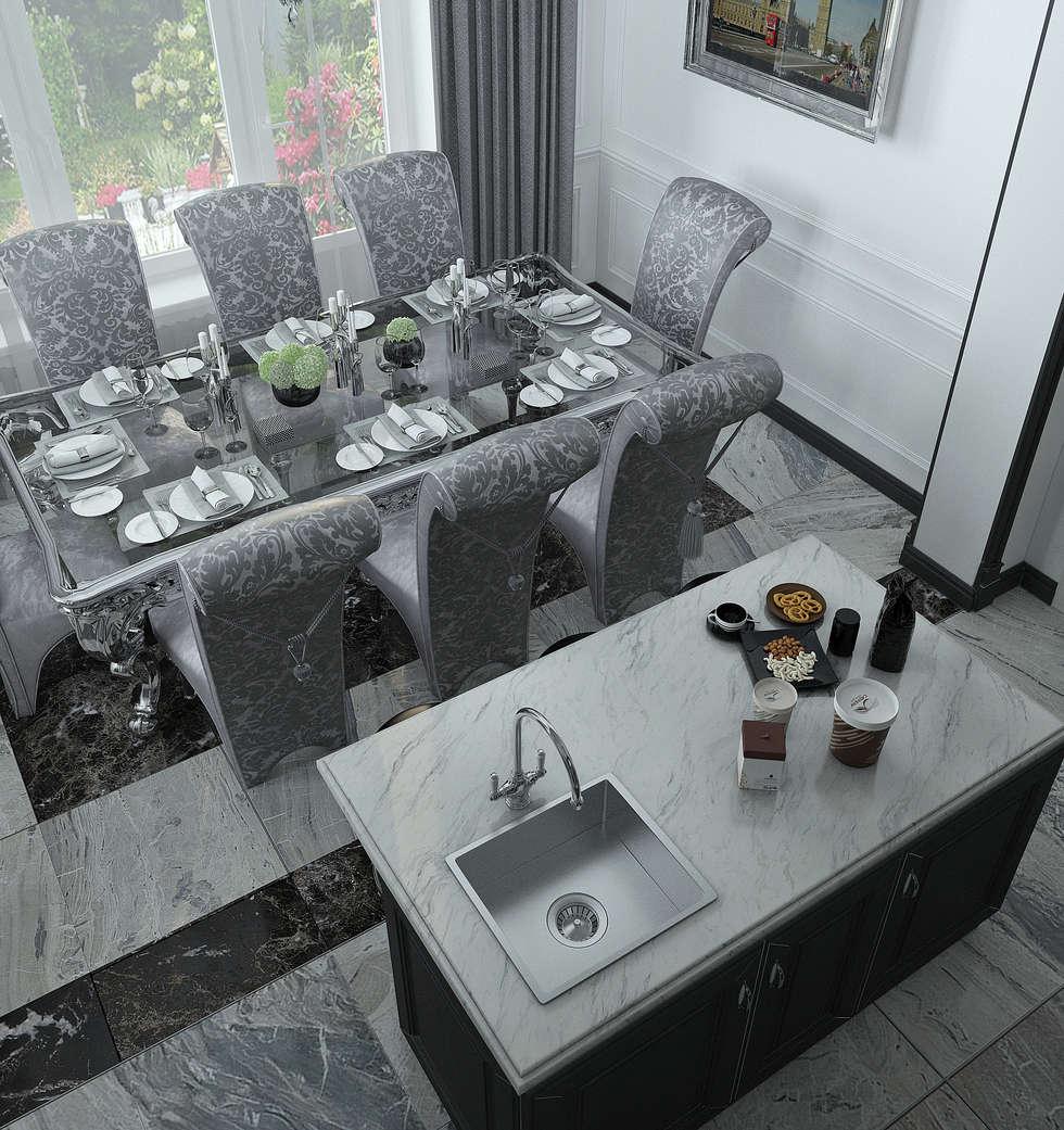 Кухня-столовая: Столовые комнаты в . Автор – Yurov Interiors