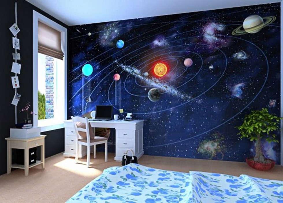 Fotobehang: Zonnestelsel: moderne Studeerkamer/kantoor door kleurmijninterieur.nl