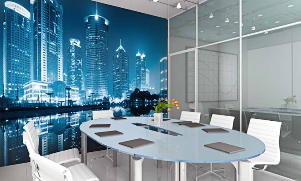 Kleur Mijn Interieur : Fotobehang skyline moderne mediakamer door kleurmijninterieur