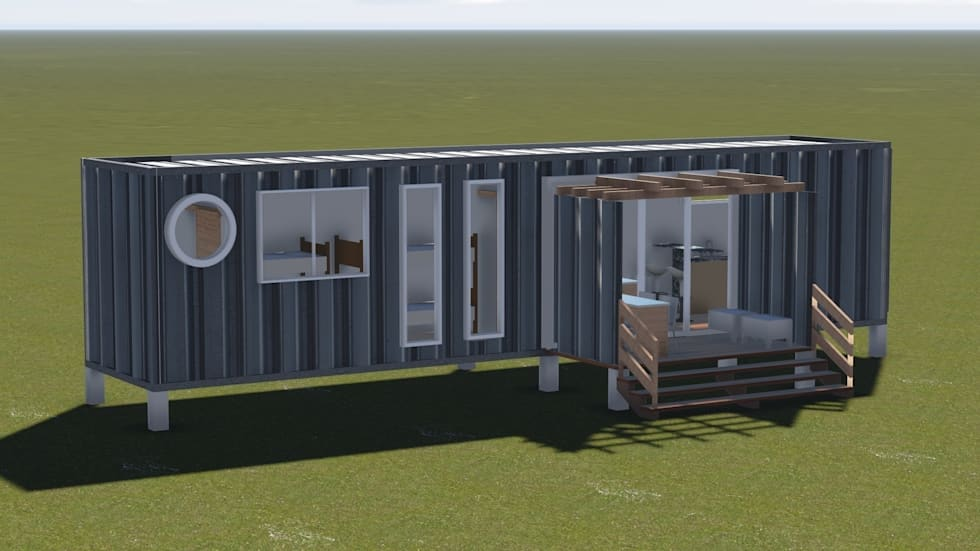 CASA MODULAR EFICIENTE - BOX 40' – móduloII: Casas industriais por SustentARQ Studio
