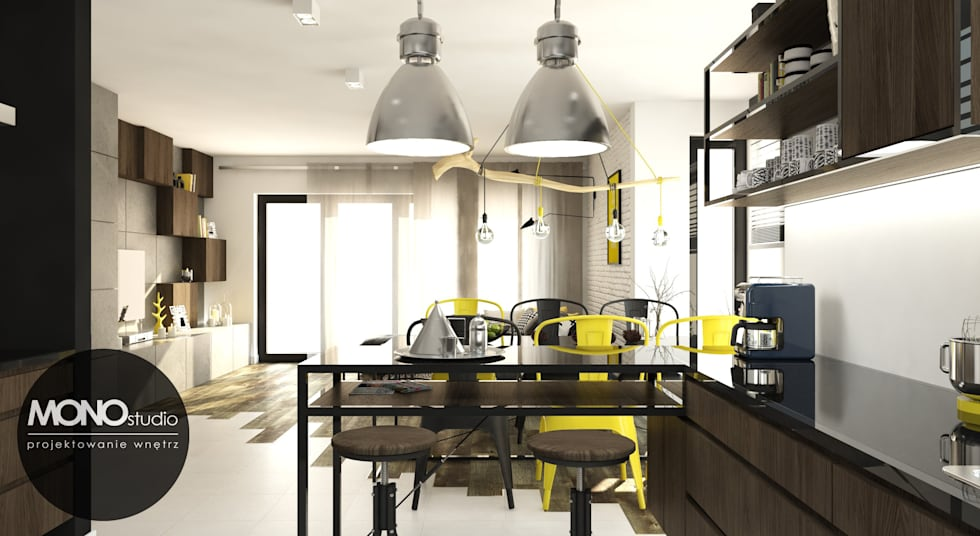 Surowe materiały z akcentem koloru i drewna: styl , w kategorii Kuchnia zaprojektowany przez MONOstudio
