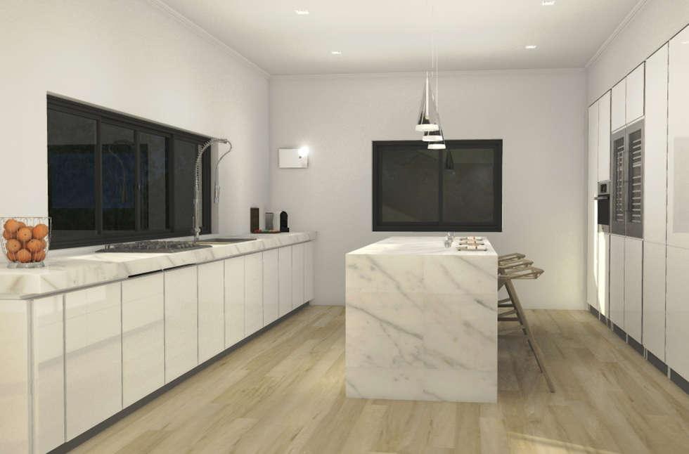 Villa unifamiliare Sydney_Australia_2013: Cucina in stile in stile Moderno di Valentina Cassader