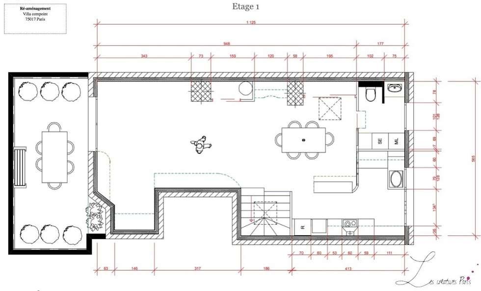 Plan de l'etage : Salle à manger de style de style Moderne par Agence architecte intérieur Paris