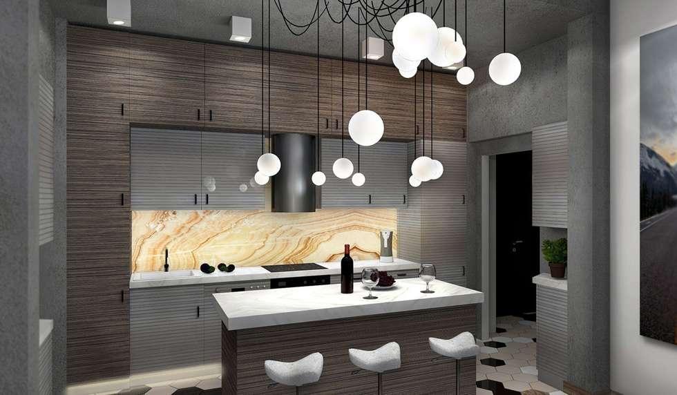 Гостиная, совмещенная с кухней: Кухни в . Автор – Дизайн-студия HOLZLAB