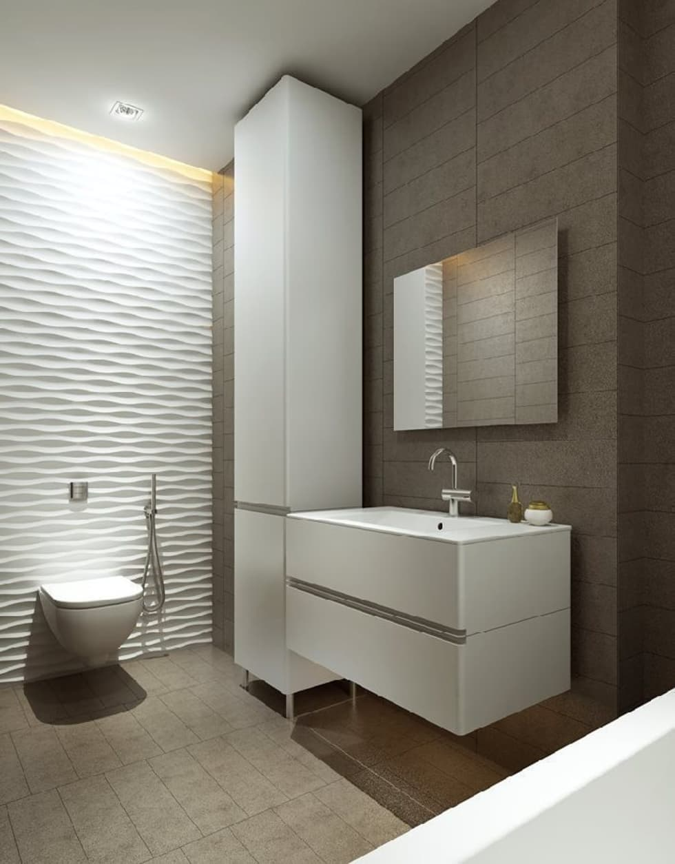 Panele MDF 3D w łazience: styl , w kategorii Łazienka zaprojektowany przez Luxum
