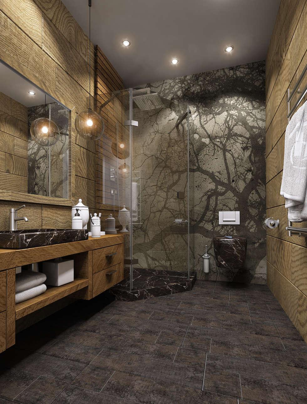 Baños de estilo ecléctico de MONTE FEE INTERIOR DESIGN STUDIO