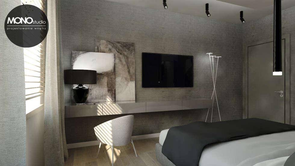 Elegancki, przestronny i nowoczesny dom pod Krakowem.: styl , w kategorii Sypialnia zaprojektowany przez MONOstudio