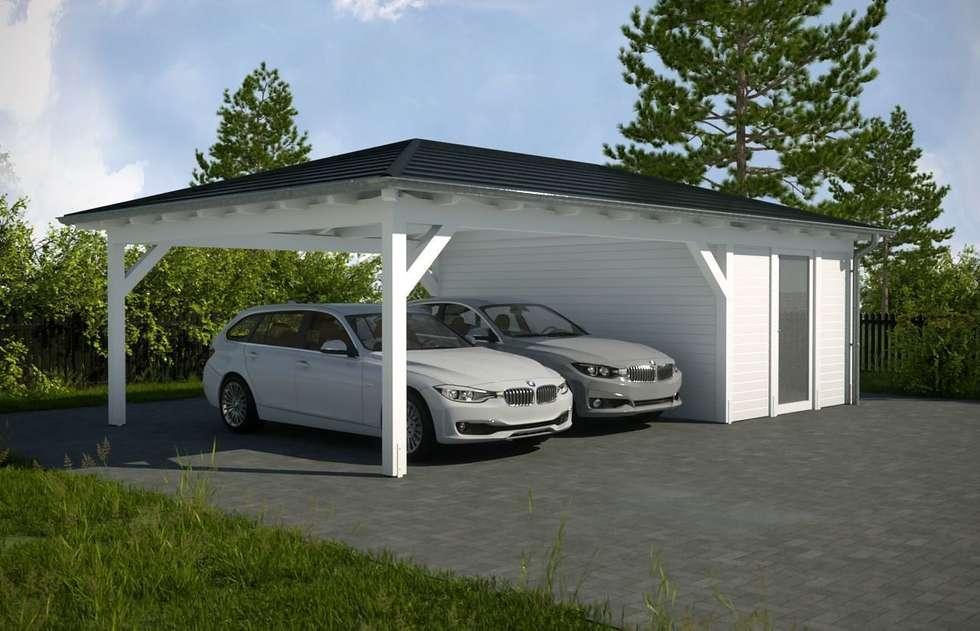 Wiata garażowa BLANCA z pomieszczeniem gospodarczym: styl , w kategorii Garaż prefabrykowany  zaprojektowany przez Ogrodolandia