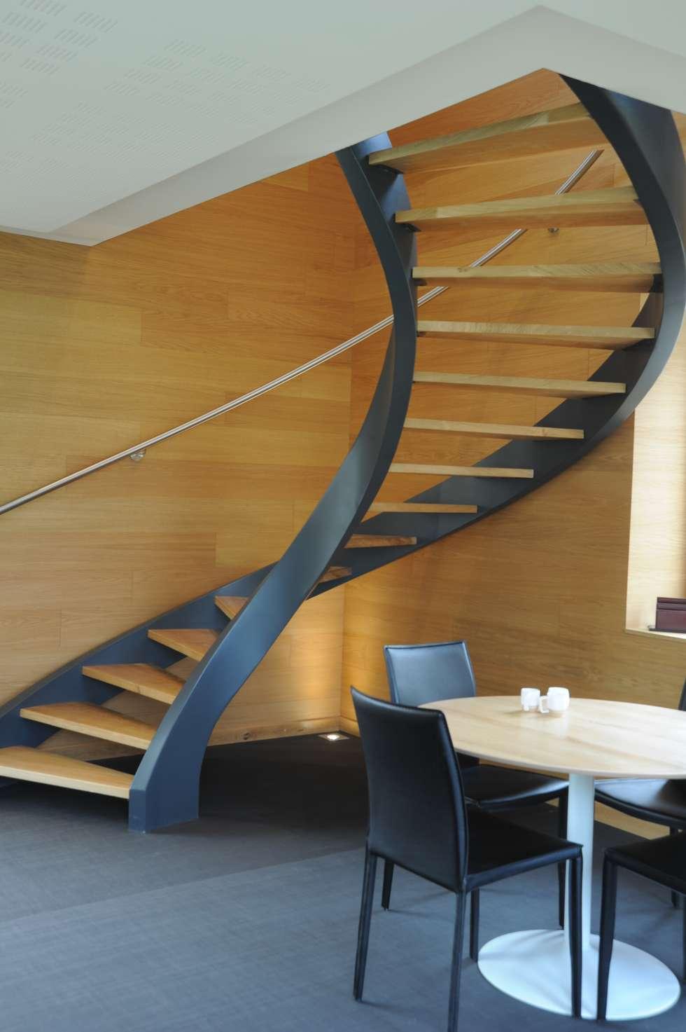 escalier balancé : Couloir et hall d'entrée de style  par AMB