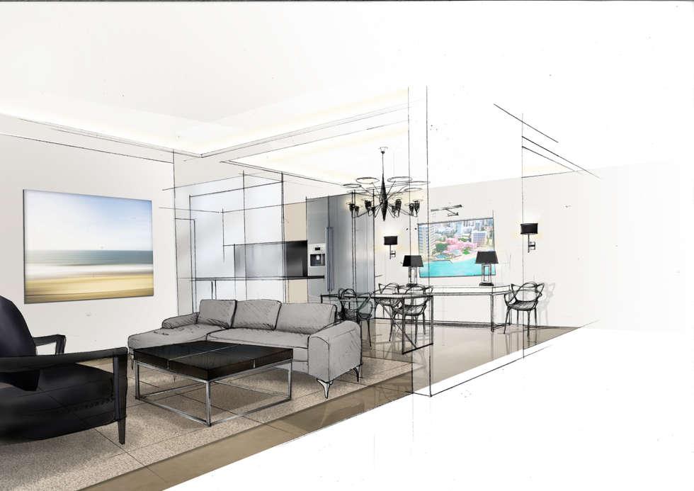 C&C: Salon de style de style Moderne par RencontreUnArchi