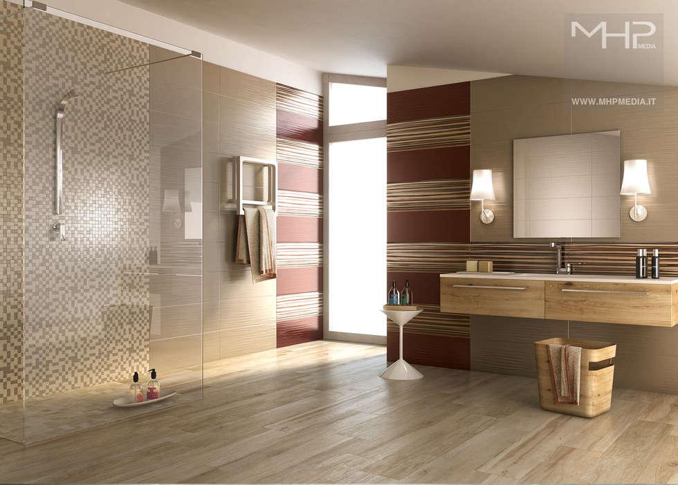 3D rendering | bagno spazioso: Bagno in stile in stile Moderno di MHP media | 3D Rendering