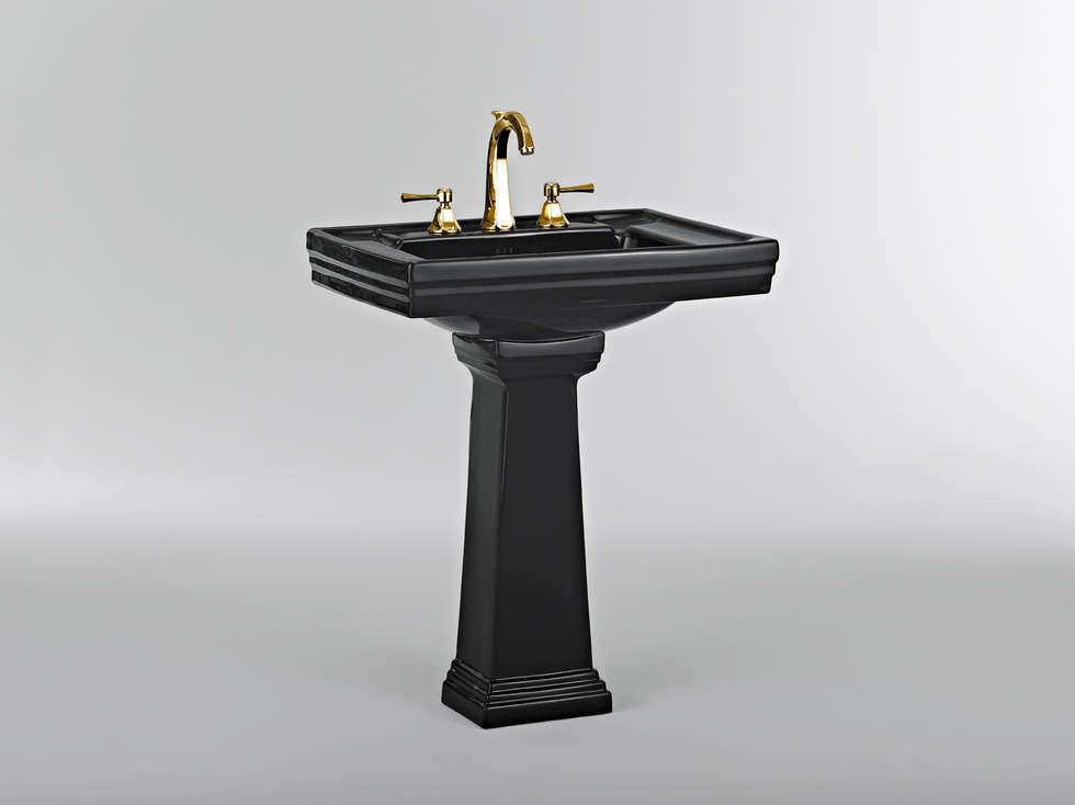 Lavabo sur colonne noir: Salle de bains de style  par HORUS