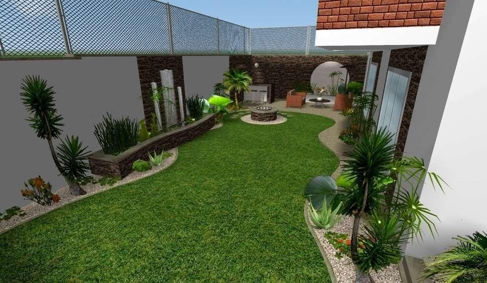 diseño 3D - vista general: Jardines de estilo moderno por Zen Ambient