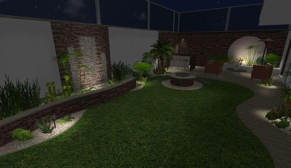 Dise o iluminaci n de noche jardines de estilo moderno - Iluminacion de jardines modernos ...