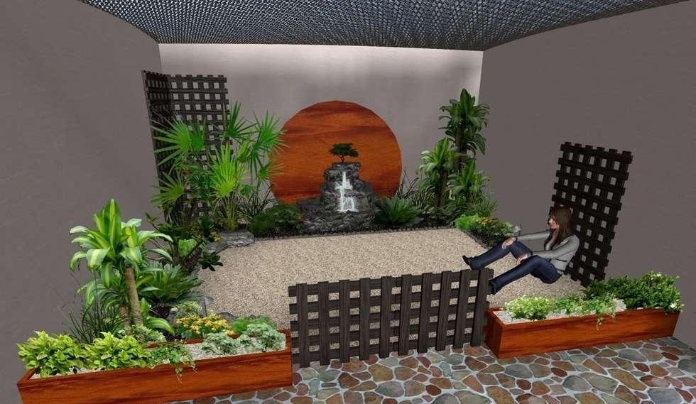jardín pequeño tropical: Jardines de estilo rústico por Zen Ambient