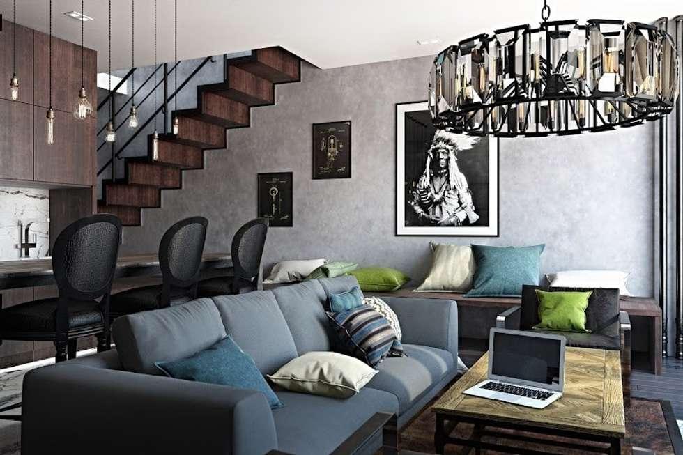 Лофт-Апартаменты в ж.к. TriBeCa: Гостиная в . Автор – Oh, Boy! Интерьеры с мужским характером