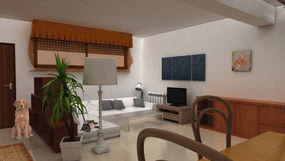 Vista dalla zona pranzo (ANTE-OPERAM): Soggiorno in stile in stile Moderno di Architetti StudiOppure