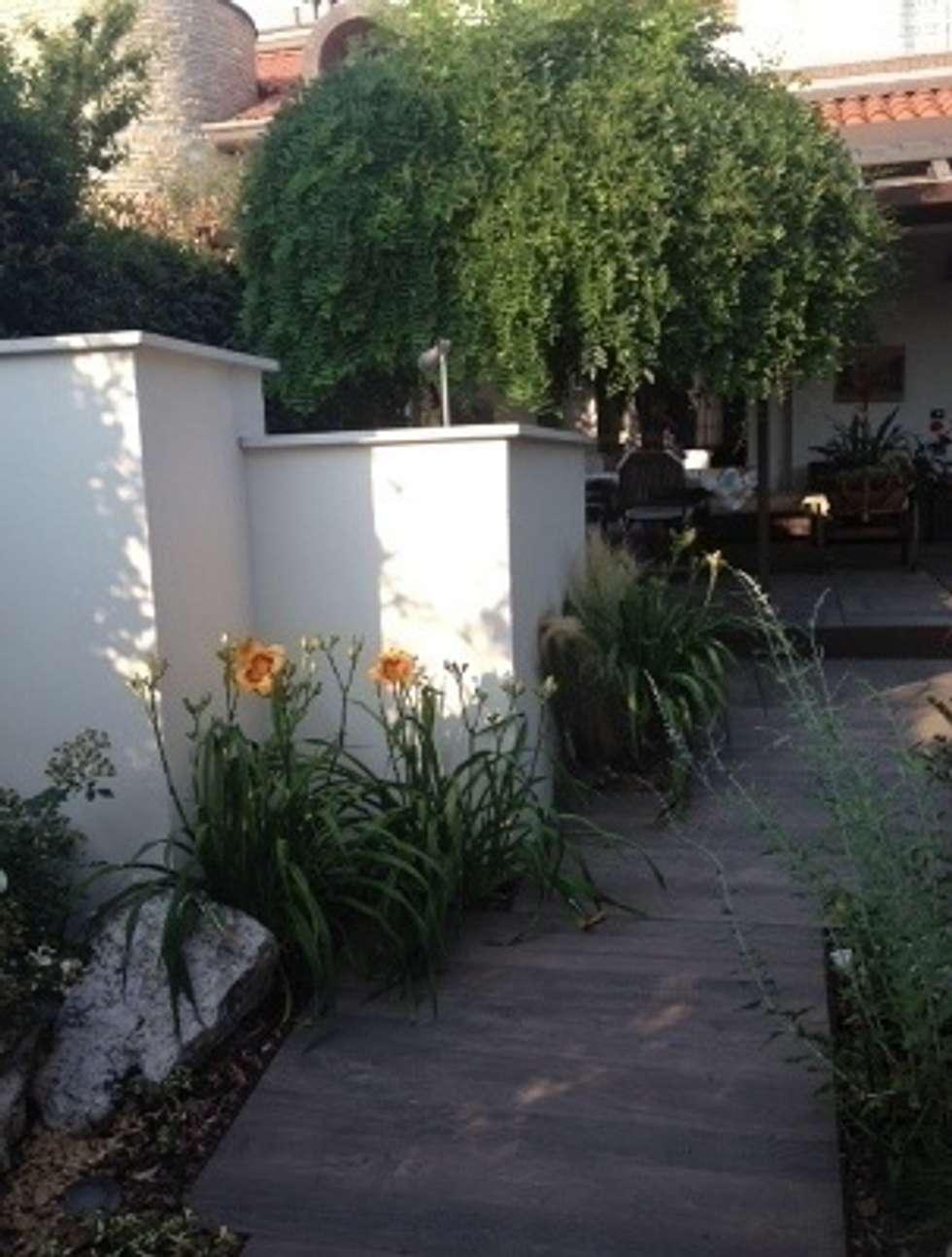 Un muro: un obbligo superato con la scelta vegetazionale: Giardino in stile in stile Moderno di Arch.Susanna Tamborini lapaesaggista.it