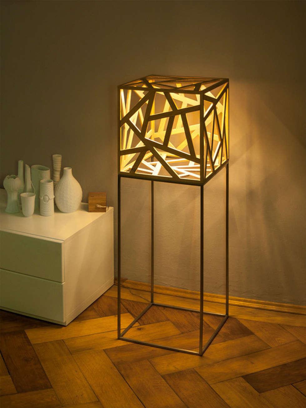 Leuchtobjekt kubus aus massivholz led moderne wohnzimmer von leuchtmanufaktur otto sprencz ·