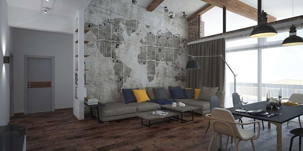 Лофт, гостиная+кухня: Гостиная в . Автор – Мастерская архитектуры и дизайна FOX