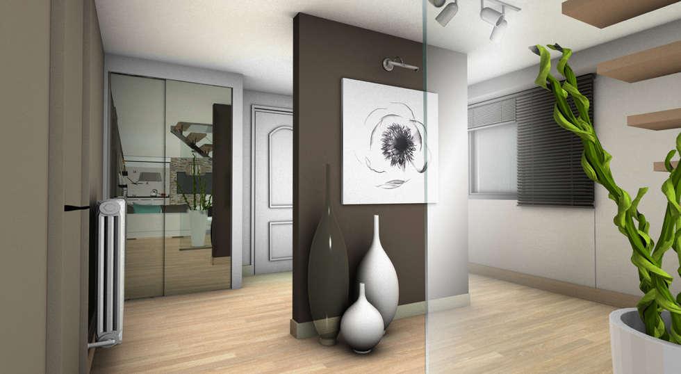ENTREE 1: Couloir et hall d'entrée de style  par PYXIS Home Design