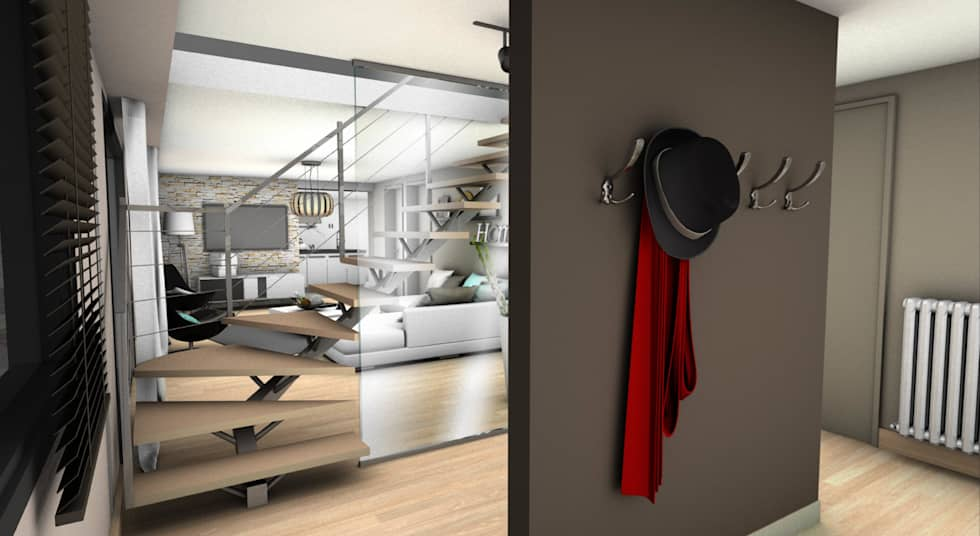 ENTREE 2: Couloir et hall d'entrée de style  par PYXIS Home Design