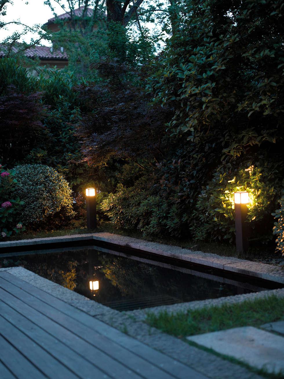 Illuminazione outdoor - Rossini Illuminazione: Giardino in stile in stile Moderno di Rossini Illuminazione