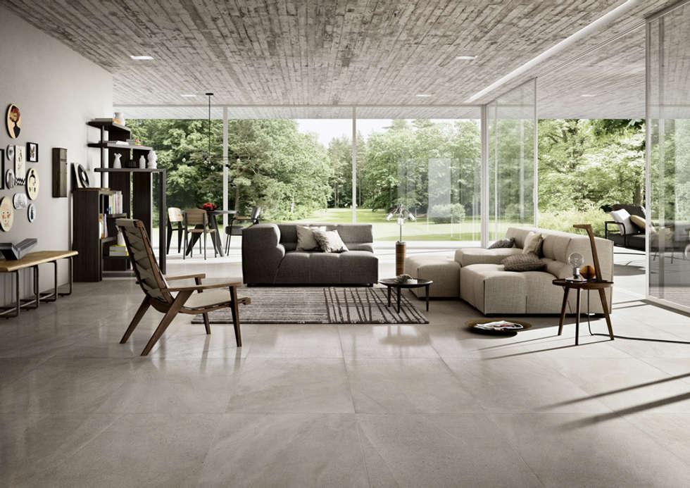 Limestone, la nuova collezione in gres porcellanato spessorato di Cotto d'Este: Soggiorno in stile in stile Moderno di AuroraR