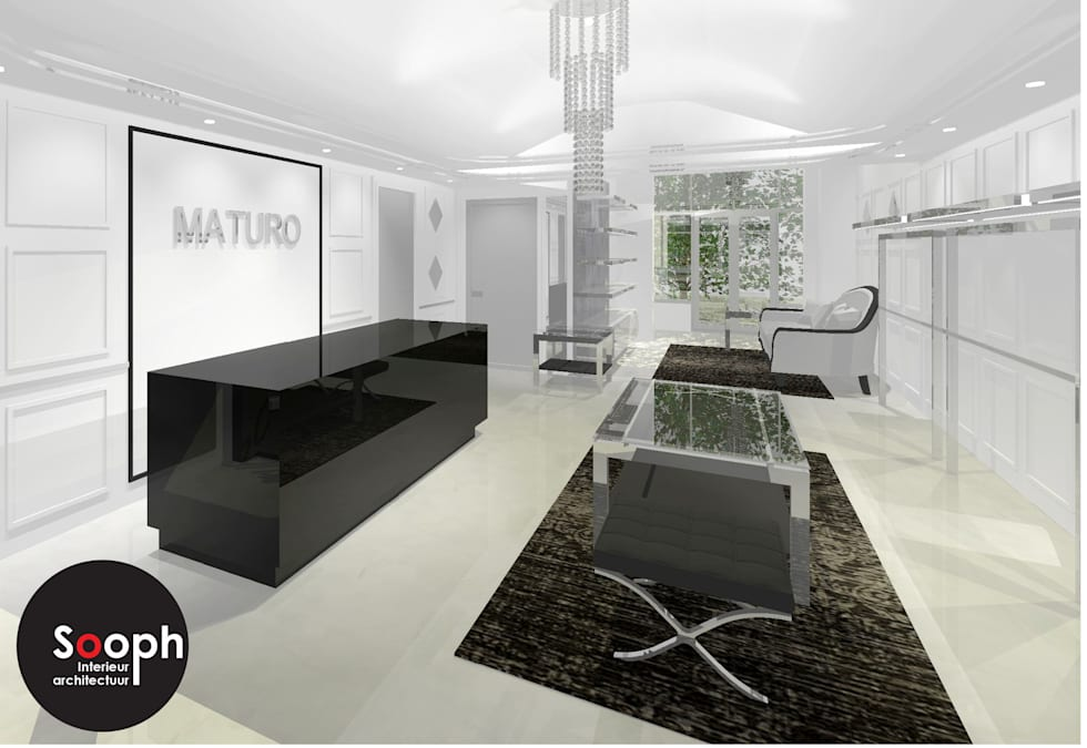 3D Heren kledingwinkel Amsterdam:  Winkelruimten door Sooph Interieurarchitectuur
