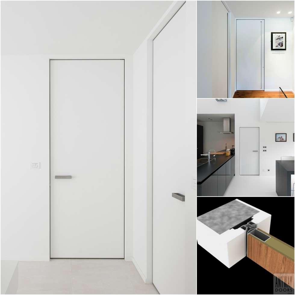 Moderne binnendeuren met een onzichtbaar kozijn:  Binnendeuren door Anyway Doors