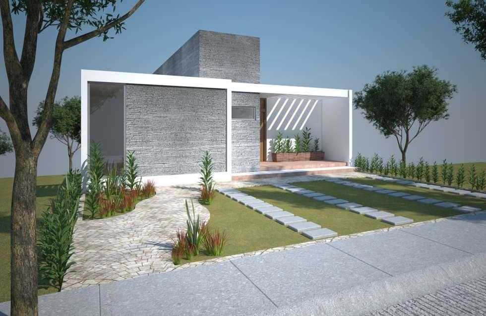 Fachada 01, casa Kompa-Enríquez: Casas de estilo moderno por Axios Arquitectos