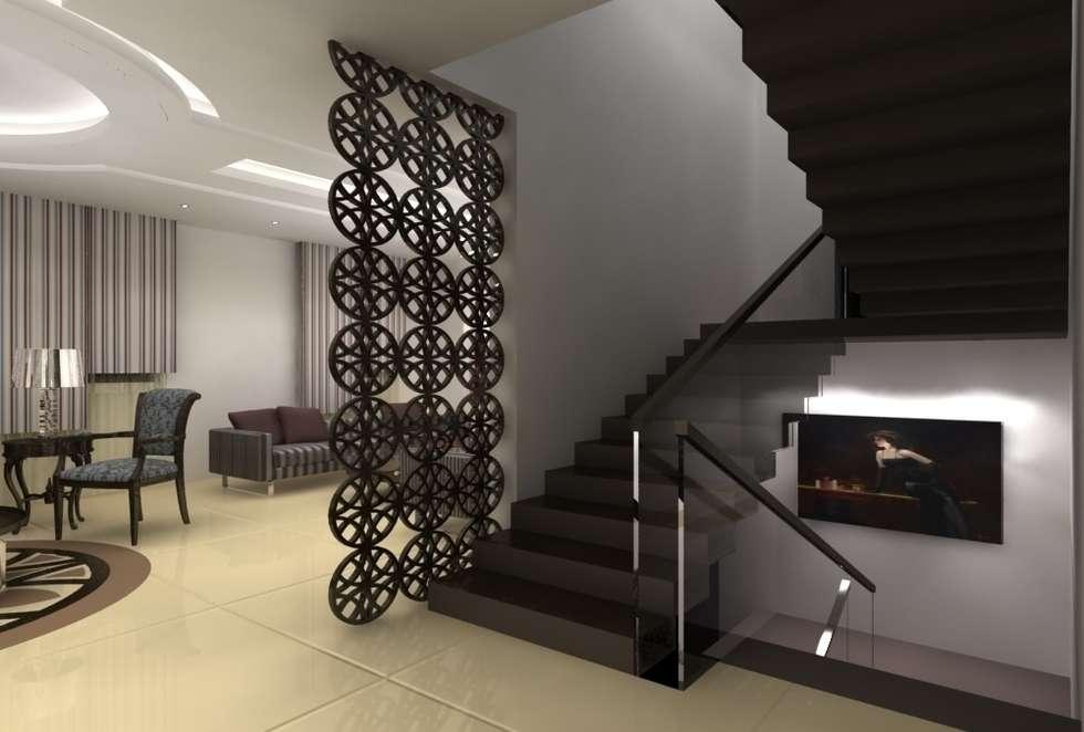 L'escalier: Couloir et hall d'entrée de style  par michel bandaly