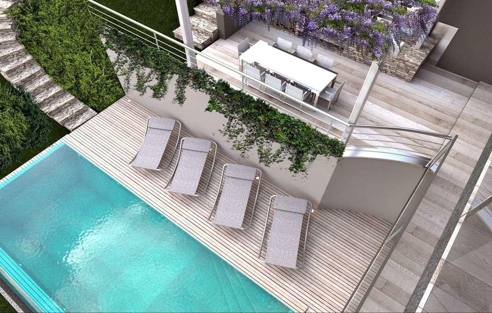 render zona piscina: Piscina in stile in stile Moderno di ARTREADY