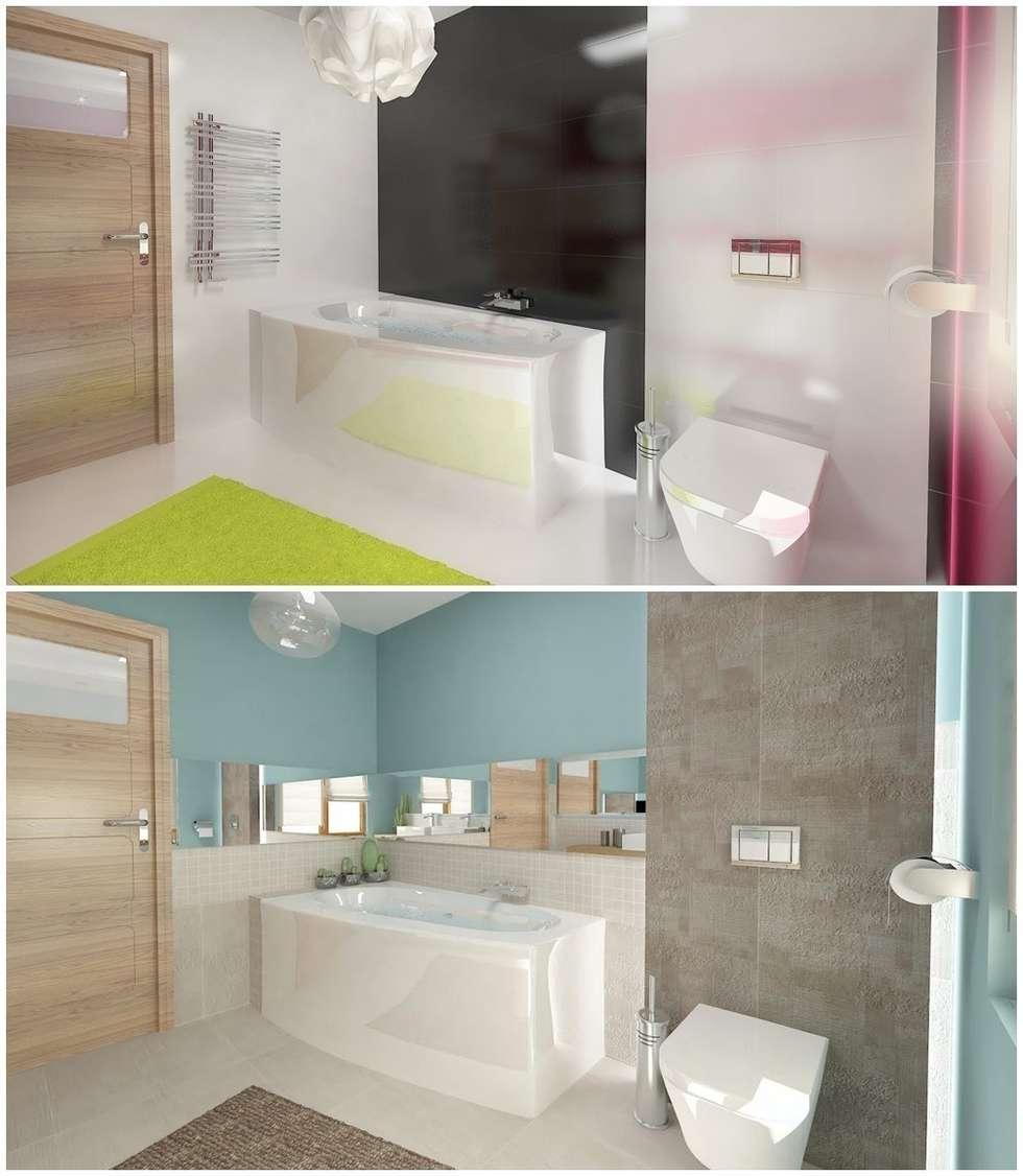 Nowoczesny dom jednorodzinny: styl , w kategorii Łazienka zaprojektowany przez D2 Studio