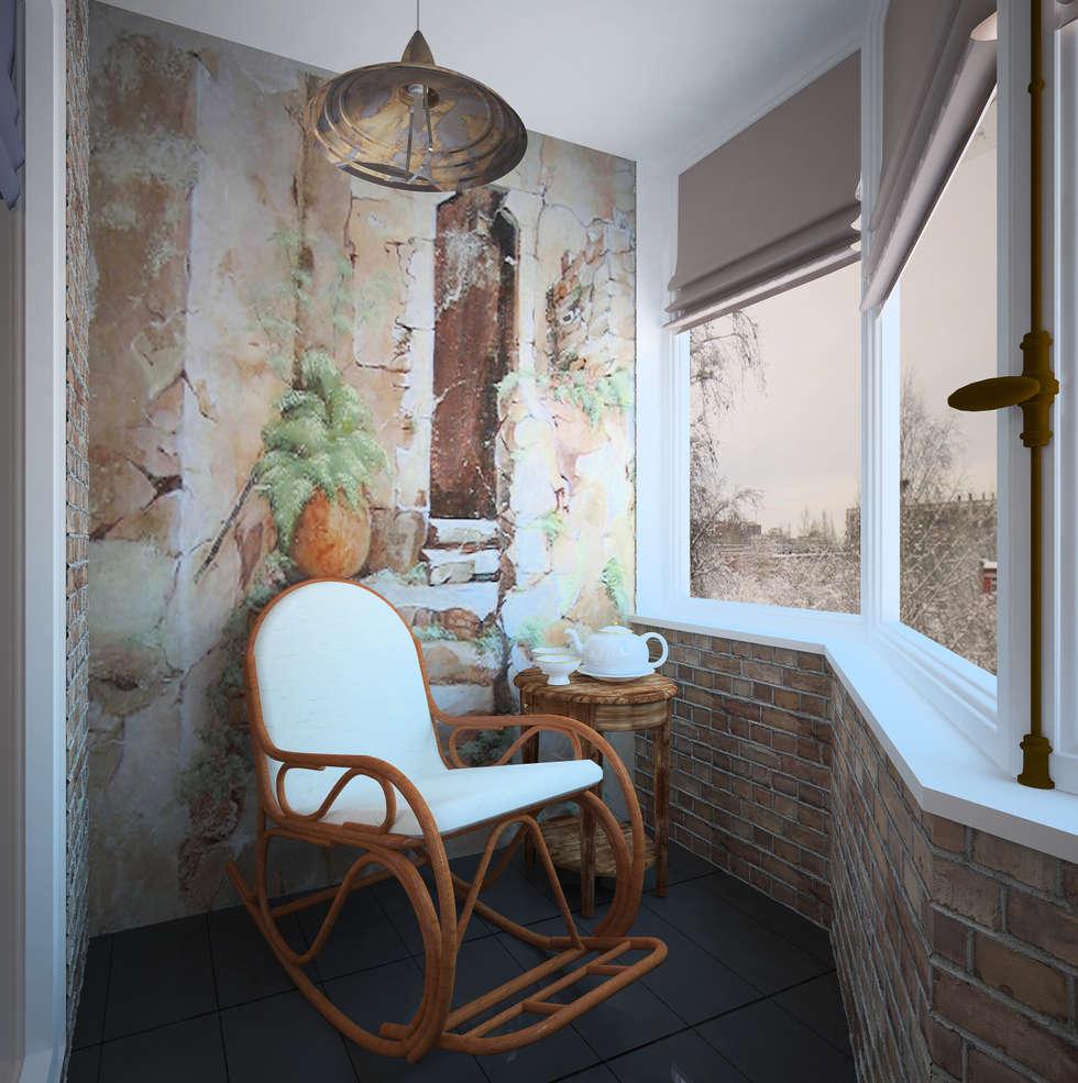 """"""" Палитра Мондриана """"   Квартира 64,2 кв.м, Москва: Tерраса в . Автор – Krupp Interiors"""