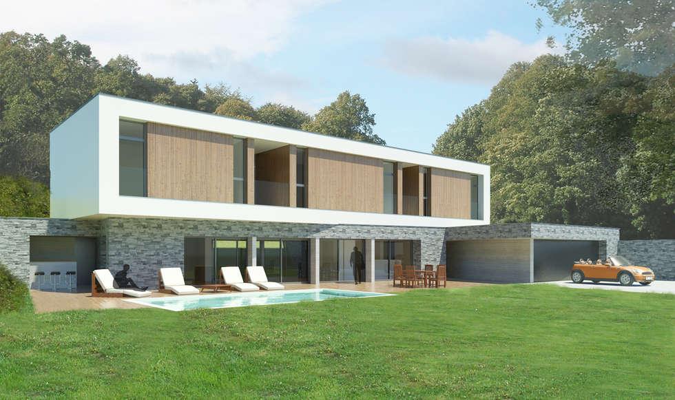 Vue depuis le jardin: Piscines  de style  par 3B Architecture