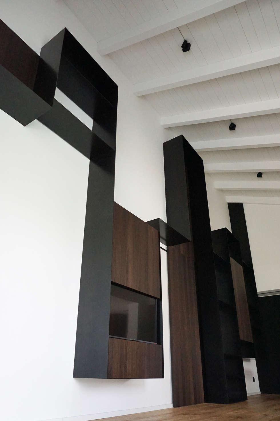 Foto di soggiorno in stile in stile minimalista : parete ...
