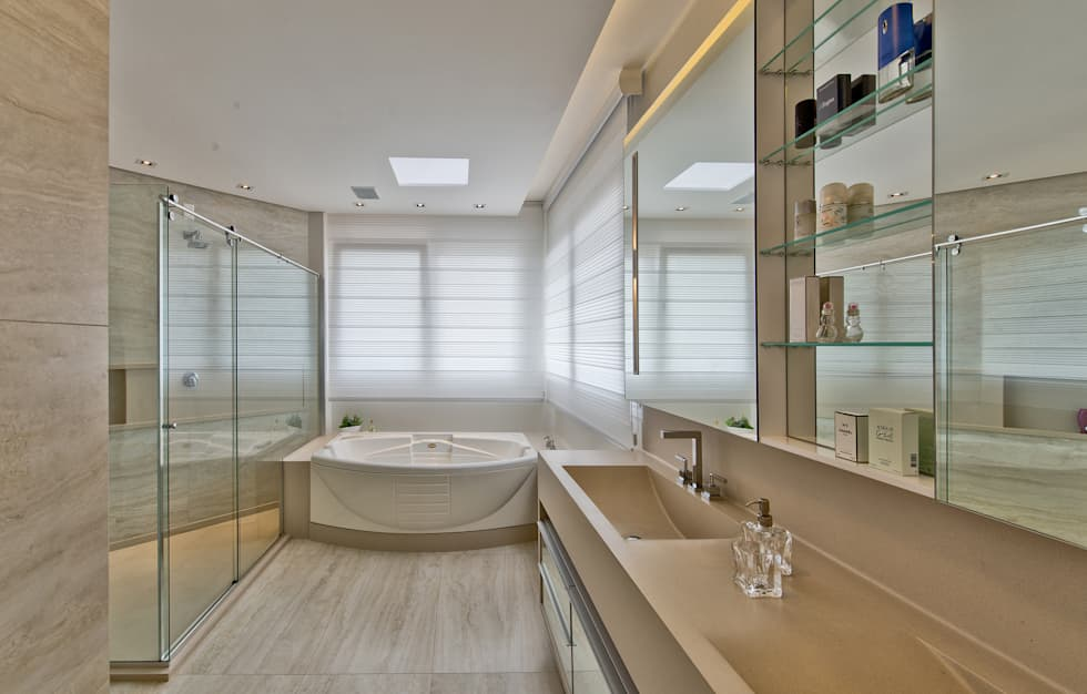 Fotos de banheiros modernos banheiro master  homify -> Cuba Para Banheiro Pne