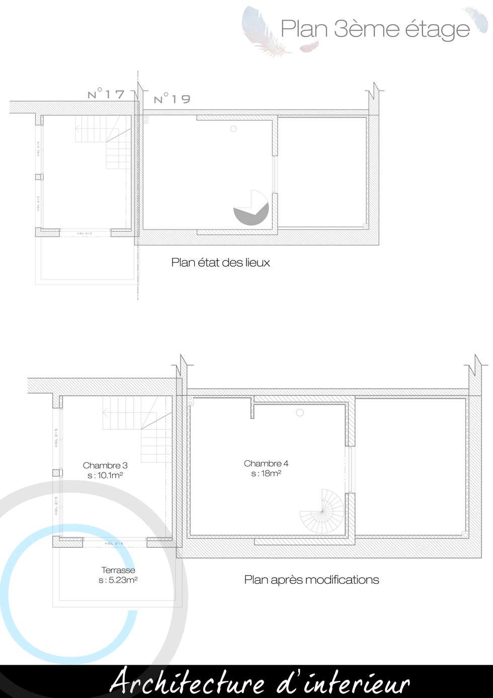 Plan 3eme etage: Chambre de style de style Moderne par Crhome Design