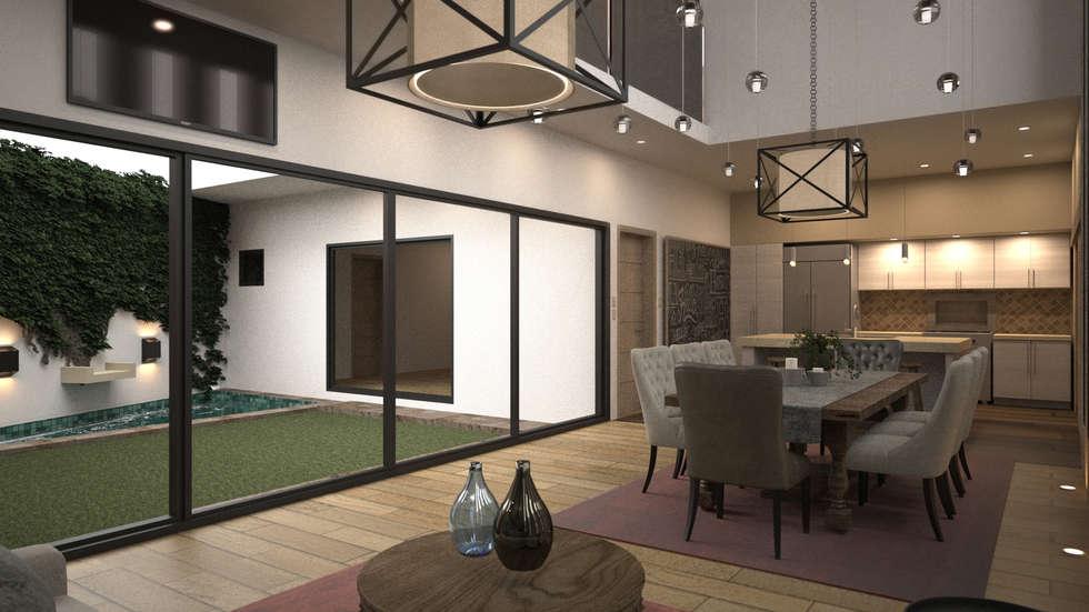 sala comedor comedores de estilo minimalista por nova arquitectura