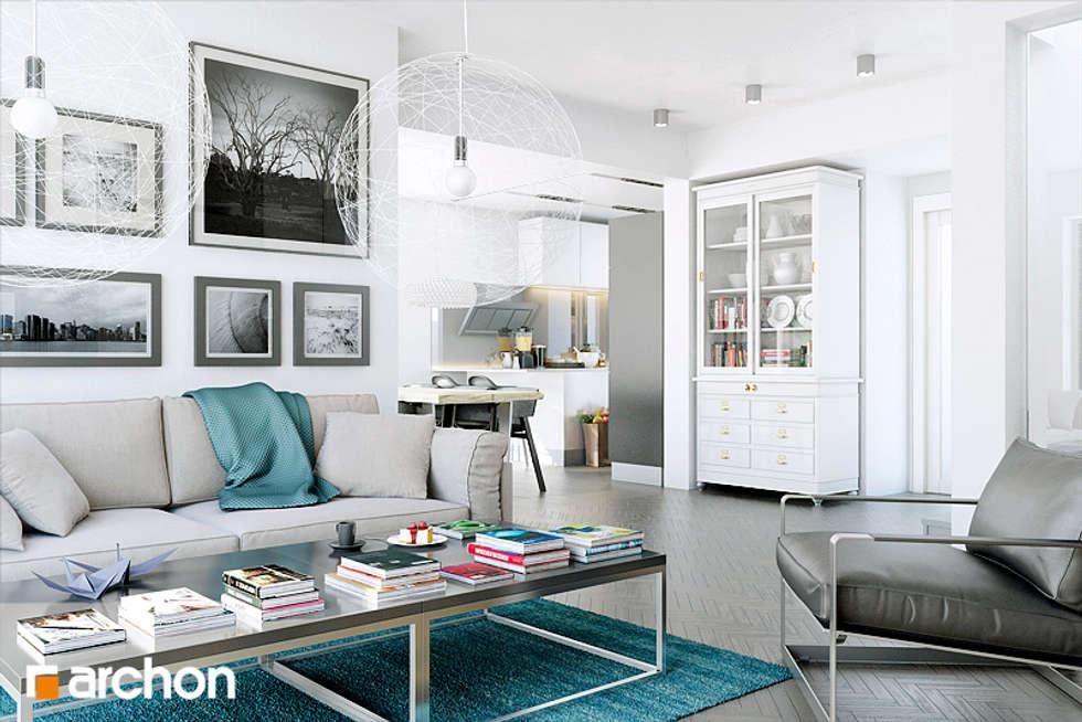Dyskretny urok małych rezydencji: styl , w kategorii Salon zaprojektowany przez ArchonHome.pl