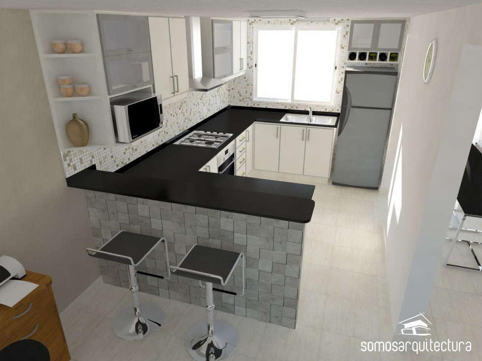 Cozinhas modernas por somos arquitectura homify for Cocinas pequenas modernas en l