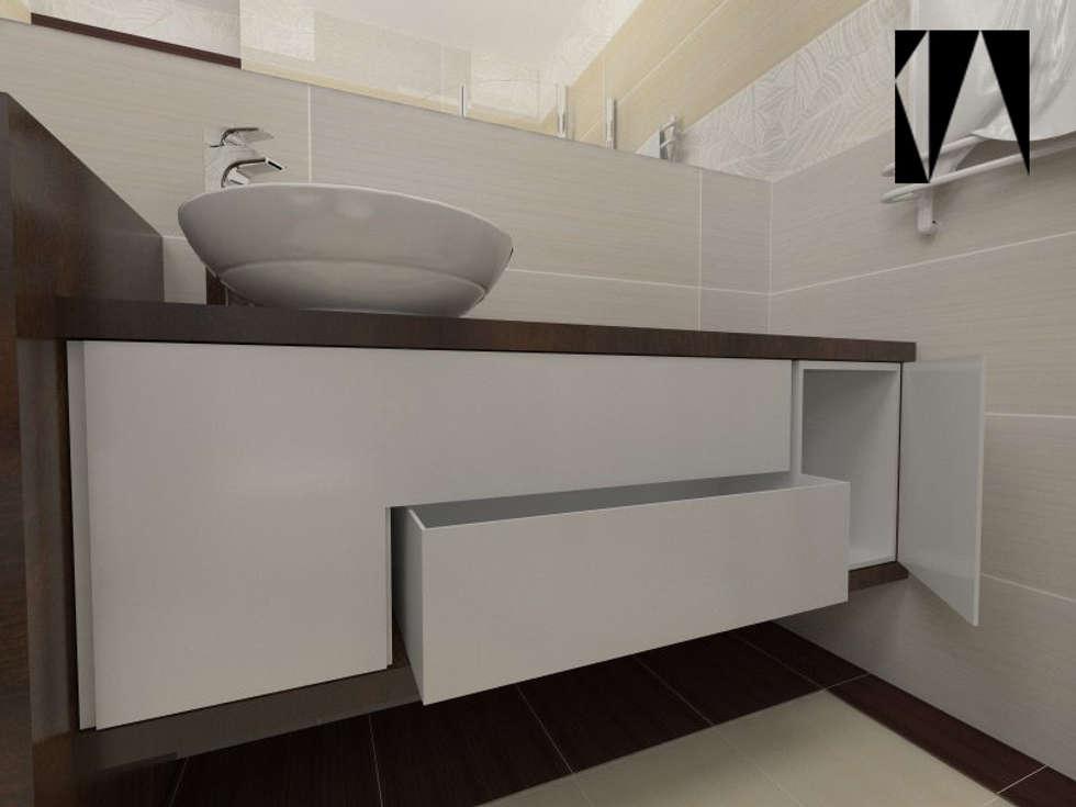Beżowo-brązowa 2: styl , w kategorii Łazienka zaprojektowany przez Katarzyna Wnęk