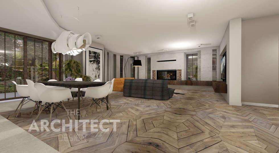 Aranżacja wnętrza http://thearchitect.pl: styl , w kategorii Salon zaprojektowany przez THE ARCHITECT DESIGN